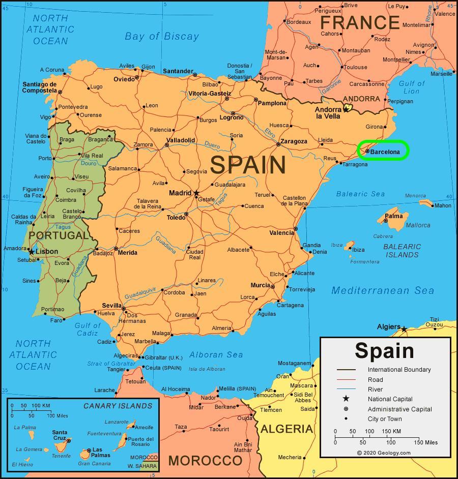 Barcelone sur une carte - Carte de barcelone sur une carte ...