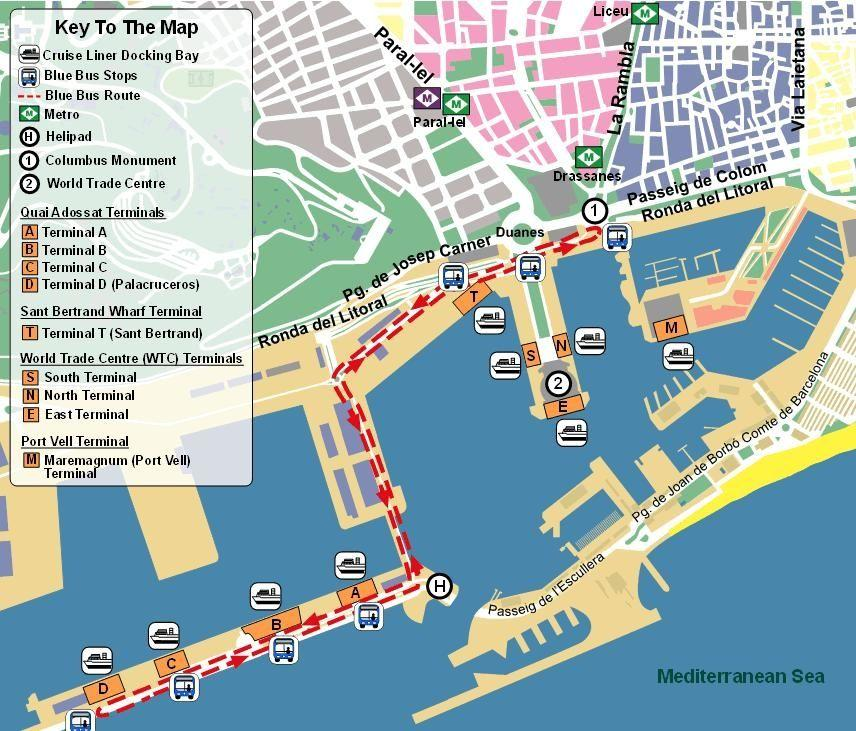 Le port de barcelone carte - carte de port de barcelone (Catalogne, Espagne)