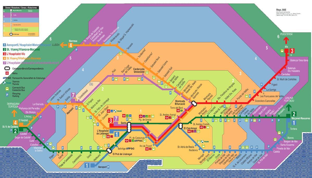 Renfe de barcelona map - Barcelone renfe carte (Catalogne ...